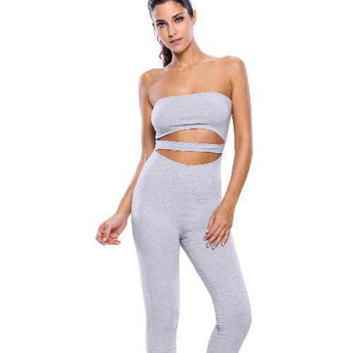 New Women Rompers Jumpsuit Capri Long Pants Cutout Strapless Bodysuit Fitness Bodycon Playsuit Grey