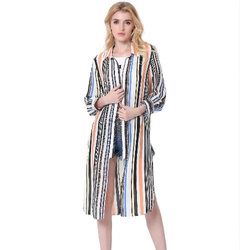 Women Midi Chiffon Shirt Contrast Striped Split Hem Button Turn-Down Collar Sun-Proof Long Cardigan Outerwear Red/Orange