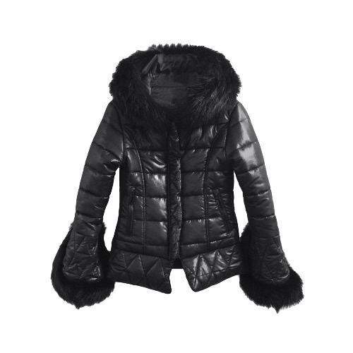 Buy Fashion Women Jacket Faux Fur Hood Cuffs Long Sleeves Quilted Warm Parka Coat Overcoat Black