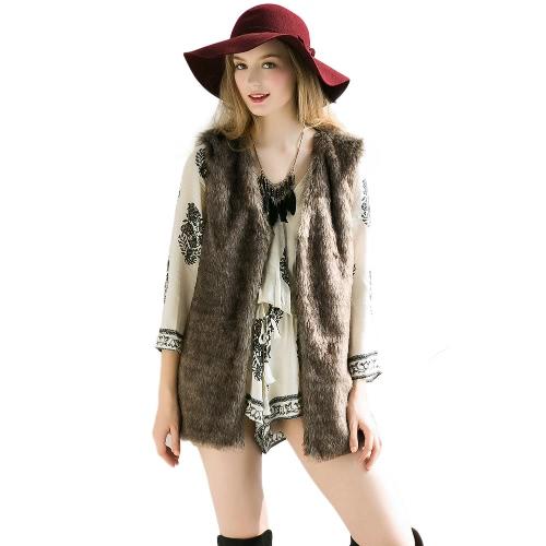 New Women Autumn Winter Faux Fur Vest Fluffy Waistcoat Open Front V Neck Furcoat Warm Outerwear