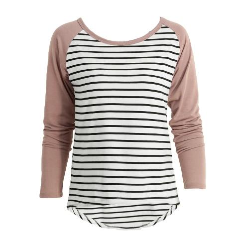 Buy Fashion Women T-Shirt Contrast Striped Long Sleeve High-Low Hem Casual Blouse Tee Tops Coffee/Purple