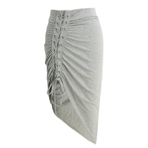 Buy Sexy Women Bodycon Lace-Up Skirt Side Split Asymmetric Hem Elastic Waist Solid Short Red/Grey