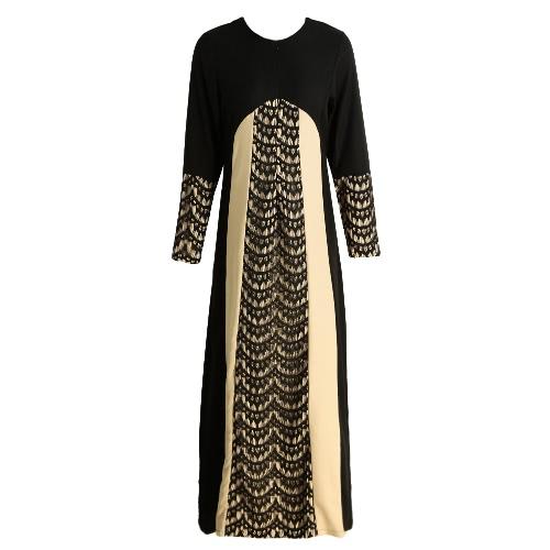 Buy Fashion Women Muslim Maxi Dress Contrast Color Pitches Long Sleeve Abaya Kaftan Islamic Indonesia Robe
