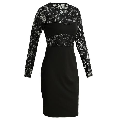 Buy Sexy Women Midi Dress Bodycon Sheer Lace O-Neck Long Sleeves Elegant Party Black/White