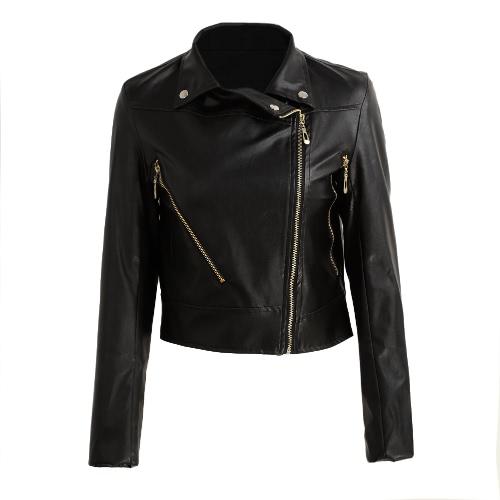 Buy Fashion Women Short Pu Leather Jacket Long Sleeve Bomber Motorcycle Zipper Coat Slim Punk Outerwear Black