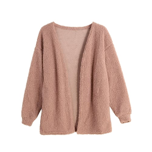 New Fashion Women Fleece Cardigan Open Front Solid Color Long Sleeve Warm Outerwear Sweater Knitwear Pink