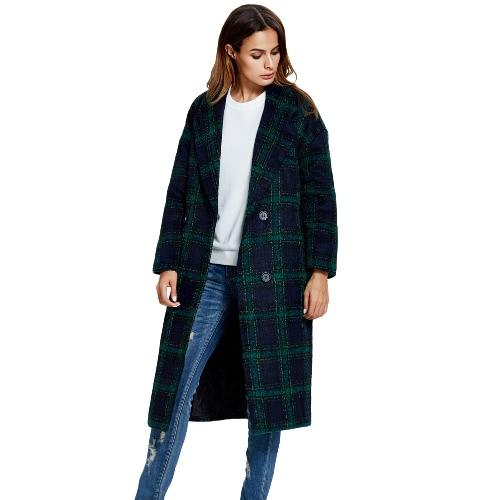 Buy Winter Women Woolen Coat Plaid Button Notched Collar Long Sleeves Warm Outerwear Overcoat Green