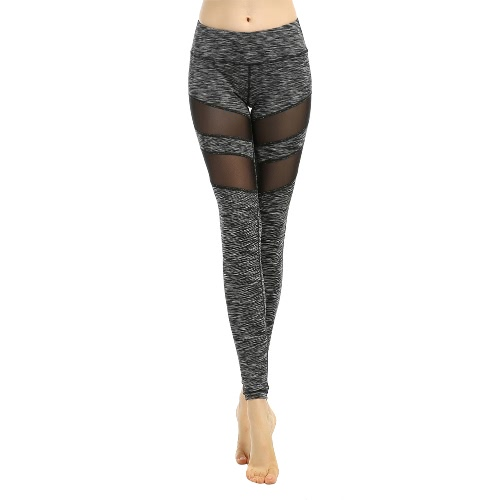 Buy Women Sport Yoga Leggings Solid Mesh Splice High Waist Fitness Gym Running Stretch Tights Long Pants Trousers Black