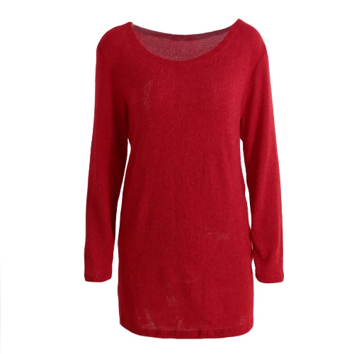 New Sexy Women Knit Dress Solid Side Zipper Long Sleeve Casual Pullover Mini Sweater Dress