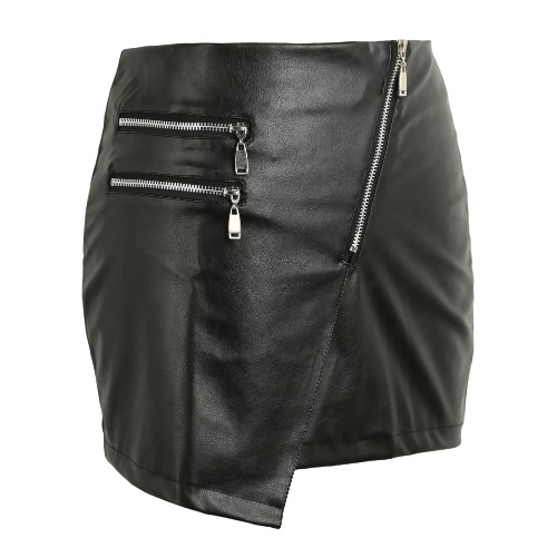 Buy Sexy Women PU Leather Skirt Front Zipper Split Solid Color Bodycon Short Mini Tight Black