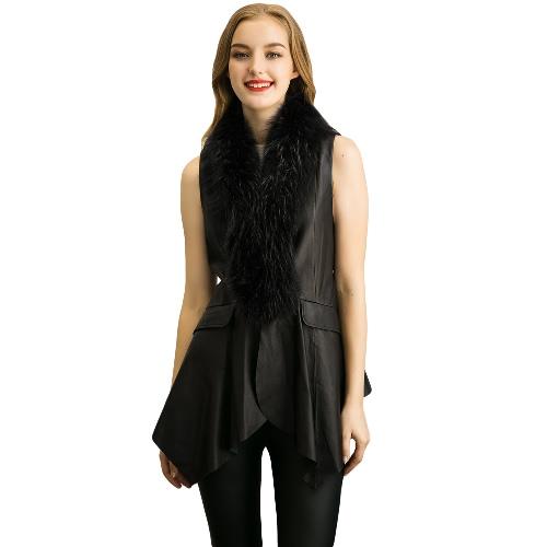 Buy Women Winter Vest Waistcoat Faux Leather Fur Irregular Hem Self Tie Splicing Sleeveless Jacket Coat Outerwear Black
