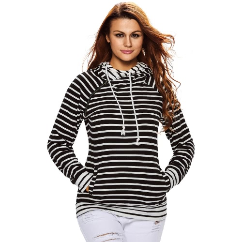 Buy Women Hoodies Sweatshirt Striped Splicing Pockets Drawstring Double Hooded Long Sleeves Pullover Casual Top