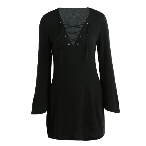 Buy Sexy Women Knit Dress Lace V-Neck Flare Sleeve Solid Casual Party Mini Sweater