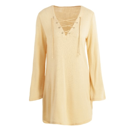 New Sexy Women Knit Dress Lace Up V-Neck Flare Sleeve Solid Casual Party Mini Sweater Dress