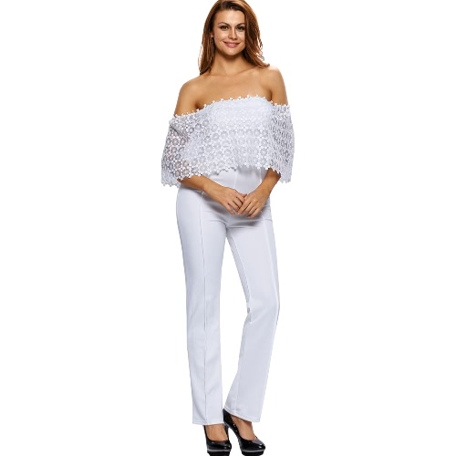 Buy Fashion Women One-Piece Jumpsuit Shoulder Slash Neck Lace Overlay Bodysuit Elegant Club Party Playsuit Rompers Black/White