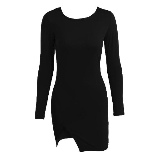 Buy Sexy Women Bodycon Dress Solid Color Split Long Sleeve O Neck Warm Slim Mini