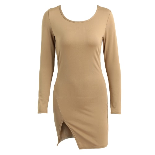 New Sexy Women Bodycon Dress Solid Color Split Long Sleeve O Neck Warm Slim Mini Dress