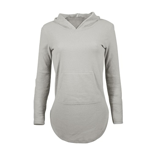 Buy Women Pullover T-Shirt Split Curved Hem Front Pocket Long Sleeve Casual Warm Hoodie Top Tee