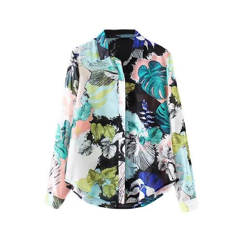 Buy Fashion Women Chiffon Blouse Contrast Print Button Turn-down Collar Long Sleeves Shirt Green