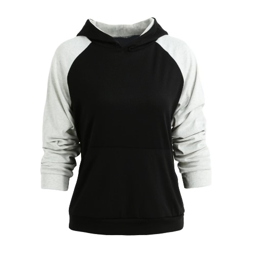 Buy Women Hoodies Sweatshirt Contrast Casual Pocket Tracksuit Pullover Hooded Top
