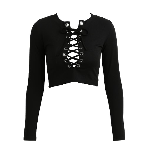 New Sexy Women Knitted Crop Top Cross Lace-Up Plunge V Neck Long Sleeve Ribbed Slim Knitwear Knitting Tops Black/White