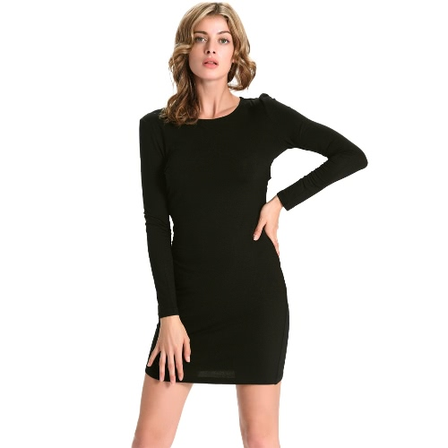 Buy Women Cut Dress Long Sleeves Strappy Back O Neck Sexy Mini Party Black/ Red