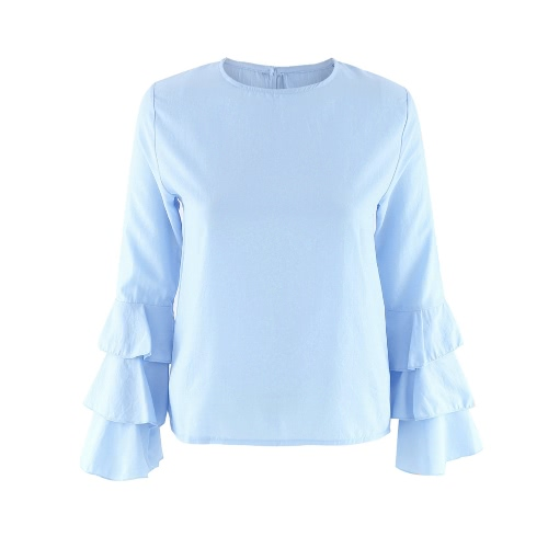 Buy Fashion Women Flared Long Sleeve Blouse O Neck Keyhole Back Solid Lady Casual Top Light Blue