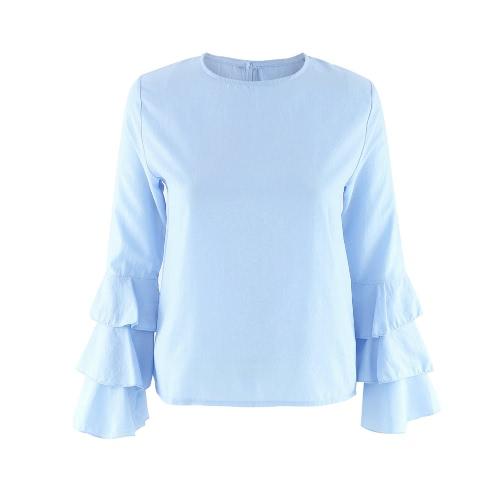 Buy Fashion Women Flared Long Sleeve Blouse O Neck Keyhole Back Solid Lady Casual Top Light Blue