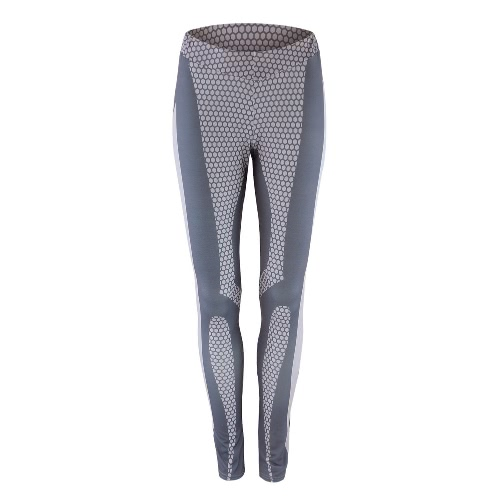 Women Sports Leggings Print Smooth Stretchy Sportswear Fitness Workout Yoga Skinny Bodycon Pants Trousers Grey