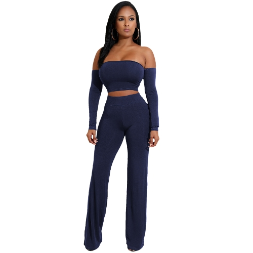 Off Shoulder Sexy Women Two Pieces Backless Bandages Lace Up Slim Crop Top Pants Trousers Club Ladies Suits