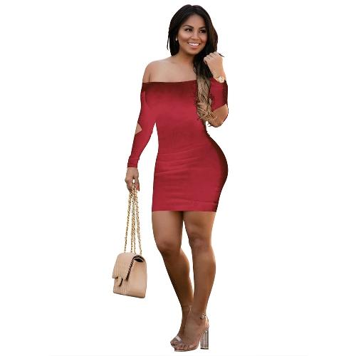 Buy Sexy Women Dress Solid Color Shoulder Backless Cut Long Sleeve Bandage Mini Bodycon Night Clubwear