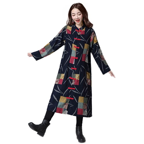 Buy Women Long Cotton Linen Coat Stand Collar Sleeves Frog Button Pockets Loose Maxi Jacket Outwear