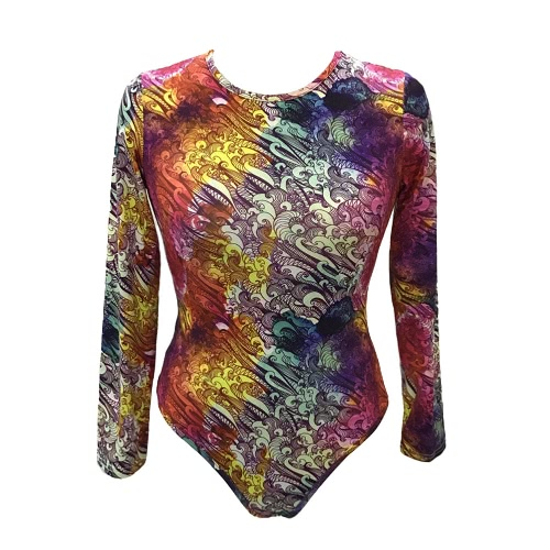 New Women Sexy Bodysuit Chic Print O-Neck Long Sleeve Tights Bodycon Jumpsuit Rompers