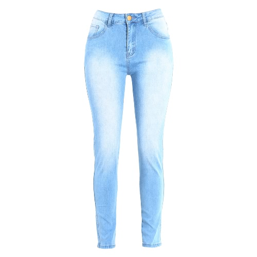 Buy Women Bodycon Jeans Denim Washed Zipper Pockets Casual Skinny Pencil Pants Trousers Tights Blue