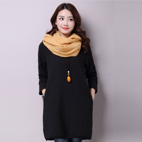 Buy Women Mori Dress Jacquard Split Hem Pockets O Neck Long Sleeves Loose Pullover Straight Jumper