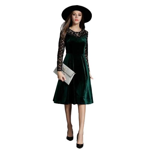 Buy Women Velvet Dress Lace Floral Hollow O Neck Ruffles Long Sleeves A-Line Back Zipper Dark Green