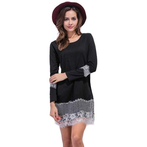 Buy Women Lace Shift Dress Eyelash O Neck Long Sleeves Straight Mini Black/Grey/White