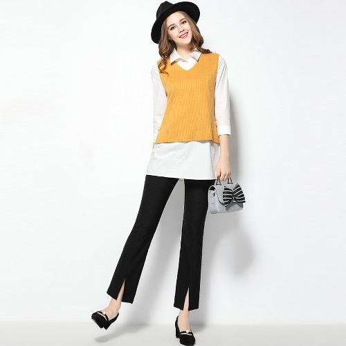 Buy Fashion Women Plus Size Bell Flare Pants Split Details Solid Color Slim Leggings Trousers Black