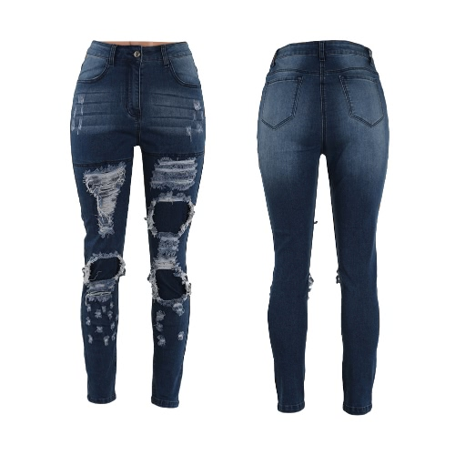 Buy Women Jeans Washed Stretchy Denim Ripped Knee Zipper Mid Waist Hole Distressed Cool Skinny Pencil Pants