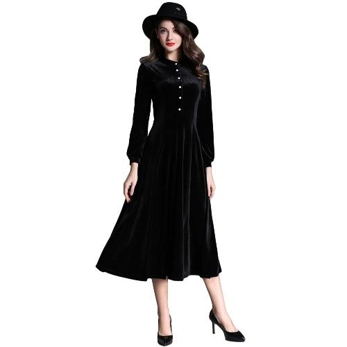 Buy Fashion Women Velvet Midi Dress Button Front Long Sleeve Solid Color Warm Slim Black