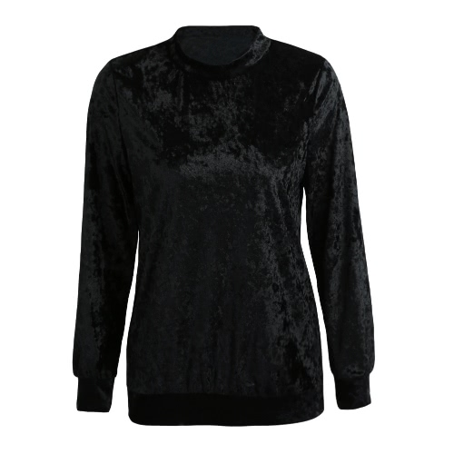 Buy Sexy Women Velvet Sweatshirt T-Shirt O-Neck Long Sleeve Solid Casual Pullover Top