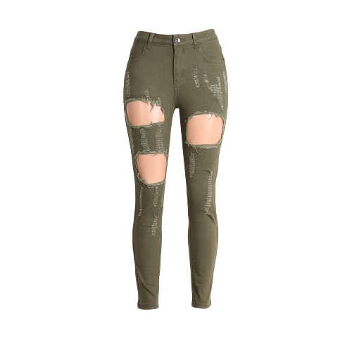 Buy Women Washed Denim Jeans Ripped Hole Zipper Pockets High Waist Stretchy Skinny Pencil Trousers Army Green