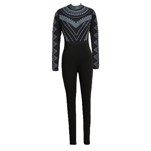 Buy Sexy Women Bodycon Bodysuit Print Turtleneck Long Sleeve Tights Stretchy Jumpsuit Rompers