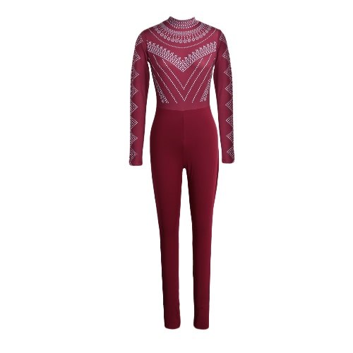 Sexy Women Bodycon Bodysuit Print Turtleneck Long Sleeve Tights Stretchy Jumpsuit Rompers
