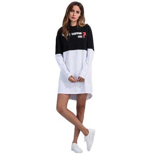 Buy Women Mini Dress Letter Print Black White Splice O-Neck Long Sleeves Casual Loose