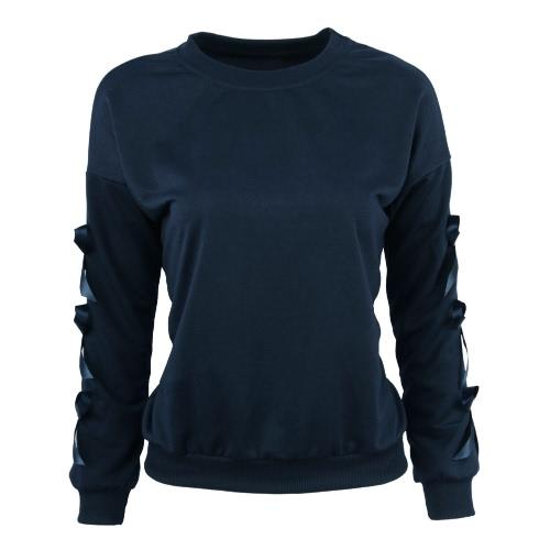 New Fashion Women Sweatshirt Bow Split Long Sleeve Round Neck Casual T-shirt Loose Top Dark Blue