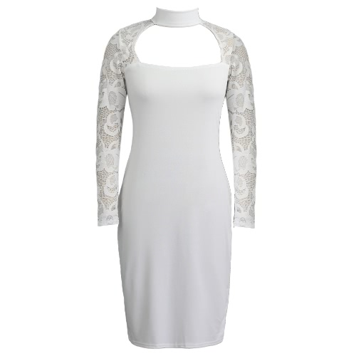 New Women Lace Bodycon Dress Long Sleeves High Neck Elegant Club Party Slim Sheath Dress Black/White