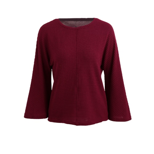 Buy Fashion Women Sweater O-Neck Flare Sleeve Solid Loose Knitwear Knitted Pullover Tops Red/Grey/Black