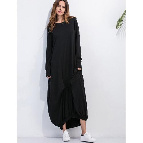 Buy Women Plus Size Casual Maxi Dress Solid O-Neck Full Sleeve Ruffled Elasticated Hem Loose Long Pullover