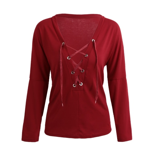 New Sexy Women T-Shirt Lace-Up Front Plunge V Neck Long Sleeve Solid Loose Tops Tee Blouse Black/Burgundy/Army Green